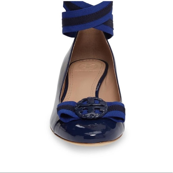 e0bf18c9a61 Tory Burch Navy Maritime Ankle Wrap Ballet Flats